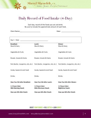 daily record of food intake fillable printable templates to