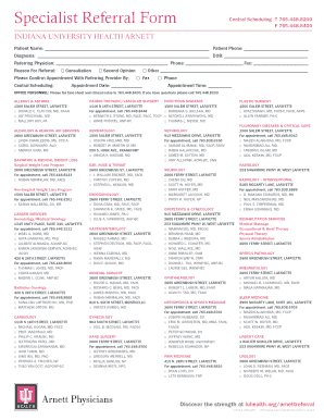 Fillable Online iuhealth Specialist Referral Form - IU