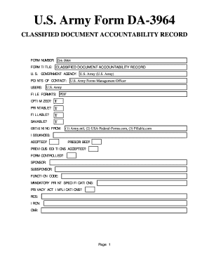 Fillable Online US Army Form DA-3964 - US Federal Forms Fax Email ...