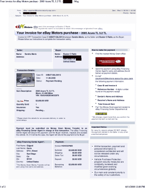 Ebay Motors Invoice Fill Online Printable Fillable Blank Pdffiller