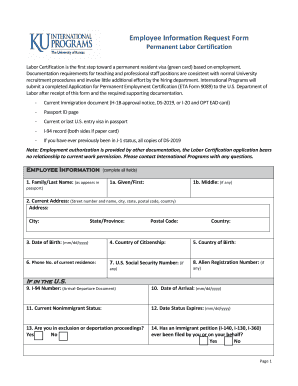 Labor Cert Employee Checklist and Intake Form - International - international ku