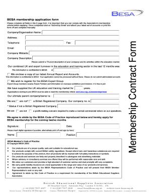 company membership application form template