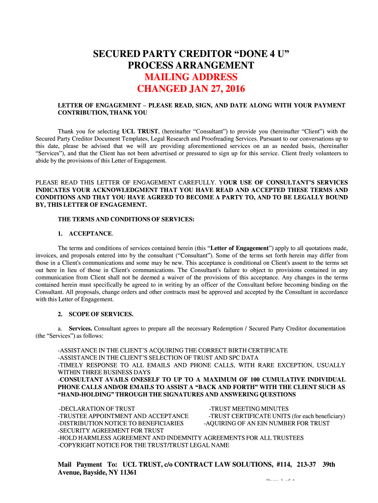 Secured Party Creditor Process Arrangement 2016 2021 Complete Legal Document Online Us Legal Forms