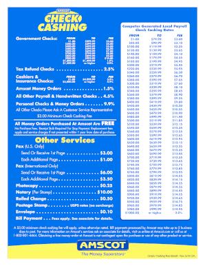 Check Cashing Rates