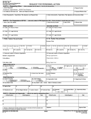 Sf 52 Template Standard Form Rev Jul 1991 U S Office Of Personnel Management Fpm Supp 296 33 Subch 3 Request For Action Part A
