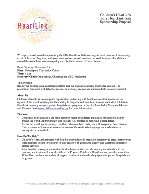Childrens HeartLink 2014 HeartLink Gala Sponsorship Proposal We hope you will consider sponsoring the 2014 HeartLink Gala, our largest, most prominent fundraising event of the year - childrensheartlink