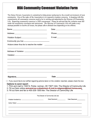 Fillable Online Hoa Violation Form Country Place Hoa Fax