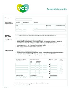 Fillable Online vgz Declaratieformulier - Zorgverzekering ...