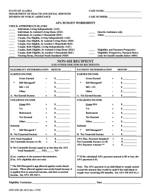 APA BUDGET WORKSHEET CHECK APPROPRIATE BLANKS Individual - dpaweb hss state ak