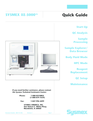 XE5000 Quick Guide - Sysmex Center for Learning Center