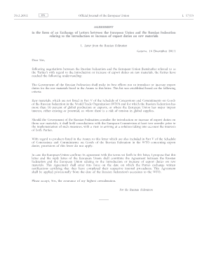 Agreement in the form of an Exchange of Letters between the European Union and the Russian Federation relating to the introduction or increase of export duties on raw materials - eeas europa