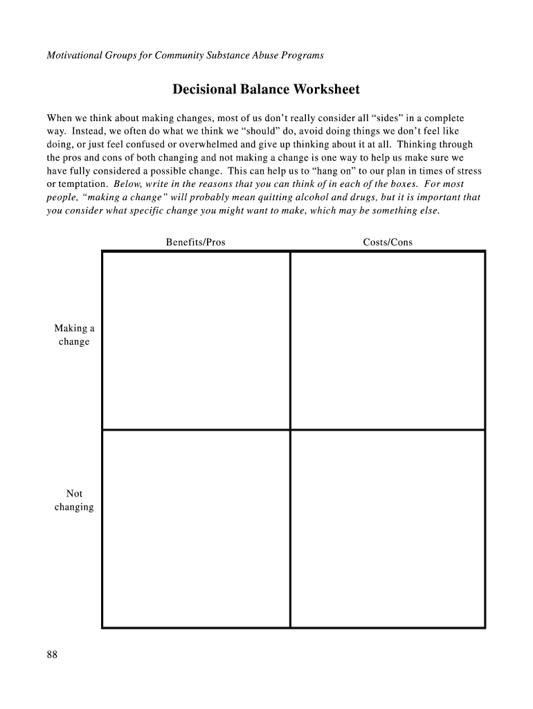 Decisional Balance Worksheet   Fill and Sign Printable ...