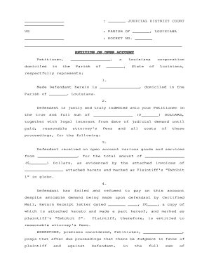 photograph regarding Free Printable Divorce Papers for Louisiana named peion upon open up account louisiana - Fillable Style Samples