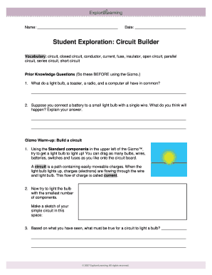 Fillable Online Student Exploration Circuit Builder - Little Miami ...