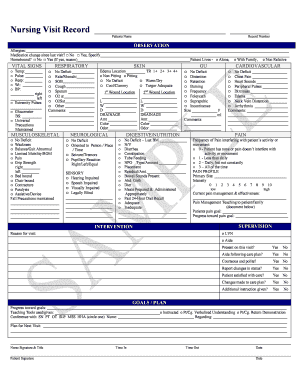 Nursing Visit Record - Home Health Forms
