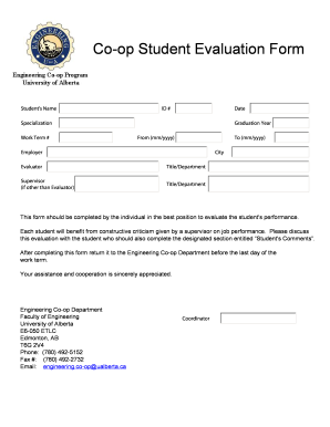 Co-op Student Evaluation Form - University of Alberta