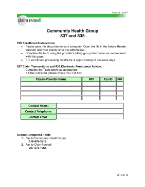 Fillable Online Community Health Group 837 and 835 Fax Email