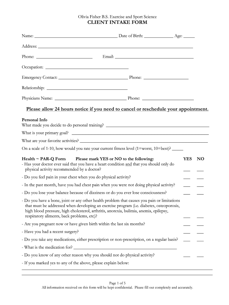 Olivia Fisher Bs Exercise And Sport Science Client Intake Form Fill And Sign Printable Template Online Us Legal Forms