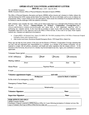 Fillable Online Opers Ucsc Staff Volunteer Agreement Letter