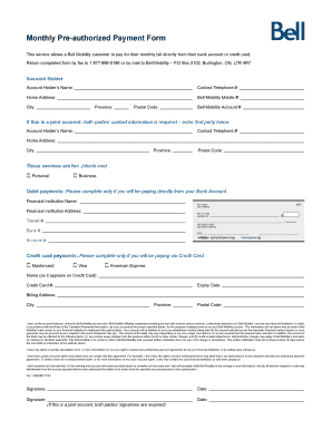 Monthly Pre Authorized Payment Form   Supportbellca  Monthly Payment Template