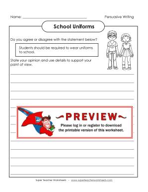 Fillable Online School Uniforms - Super Teacher Worksheets Fax Email ...