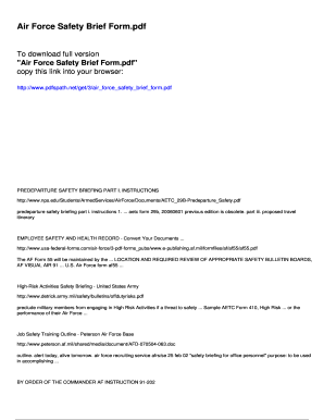 Fillable Online Air Force Safety Brief Form - pdfslibforyoucom Fax ...