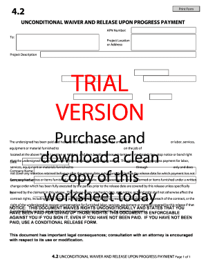 Fillable Online 2 Print Form UNCONDITIONAL WAIVER AND