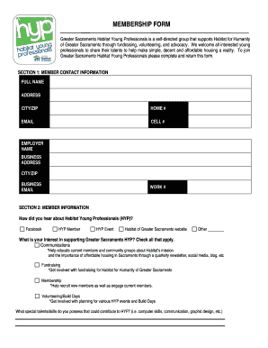 Club membership form template - Habitat for - habitatgreatersac
