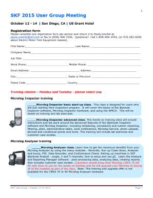 2015 SKF User Group Meeting Registration form