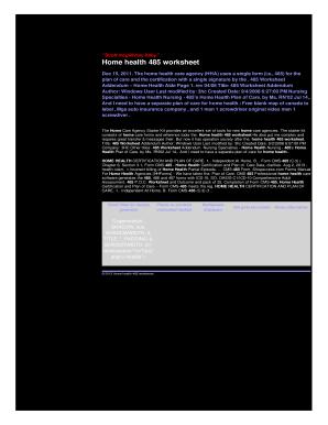 Fillable Online o2f2e skistream Home health 485 worksheet ...
