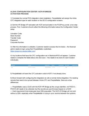 Fillable Online ALOHA CONFIGURATION CENTER / NCR HR BRIDGE