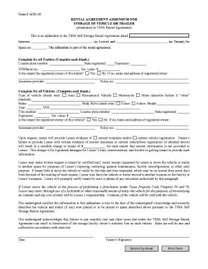 RENTAL AGREEMENT ADDENDUM FOR STORAGE OF VEHICLE OR TRAILER