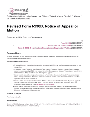 Fillable Online com) Revised Form I290B, Notice of Appeal or ...