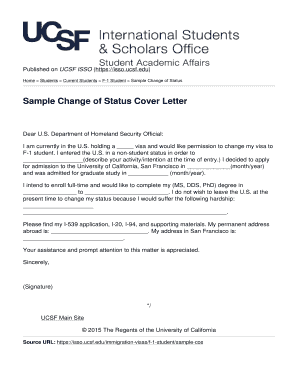Fillable Online isso ucsf Sample Change of Status Cover Letter ...