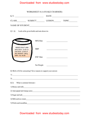 Worksheet On Class5 Snake Charmer With Answer - Fill Online