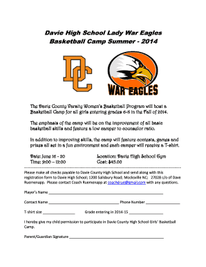 Davie High School Lady War Eagles Basketball Camp - davie k12 nc