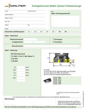 Fillable Online Anfrageformular Walter Xpress Frswerkzeuge Fax Email ...