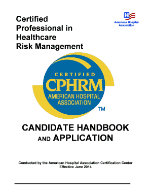 Fillable Online Aha Certified Professional In Healthcare Risk
