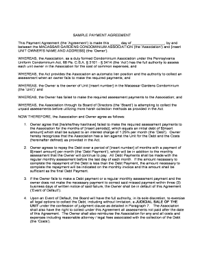 editable sample agreement letter to pay debt fill print