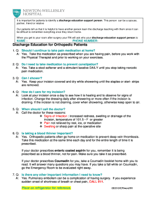 Fillable Online patientcarelink NAME PHONE NUMBER Discharge