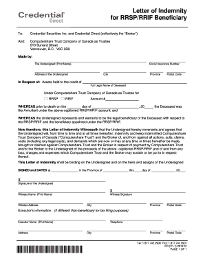 Indemnity letter forms and templates fillable printable samples letter of indemnity for rrsprrif beneficiary credential direct altavistaventures Gallery