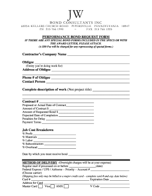 Fillable online bid bond request form jw surety bonds for Performance bond template