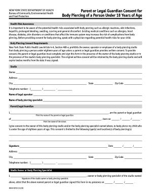 Fillable Online NYSDOH Form 5072 Parent of Legal Guardian Consent ...