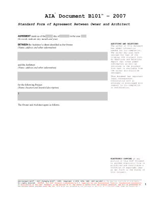 2007 Aia Document B101 - Fill Online, Printable, Fillable, Blank ...