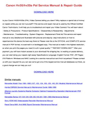 canon hv20 e service manual fill online printable fillable rh pdffiller com canon hv20 service manual download Canon HV20 Sale