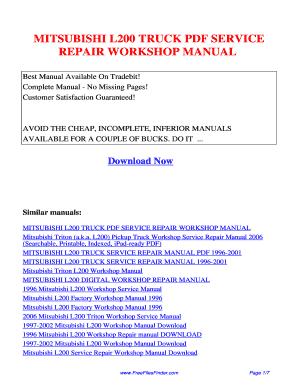 mitsubishi triton owners manual pdf fill online printable rh mitsubishi l200 manual pdffiller com saturn l200 owners manual l200 owners manual