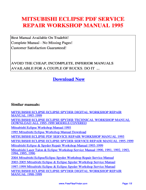 Mitsubishi Eclipse 1995 Manual Pdf Fill Online Printable Fillable Blank Pdffiller