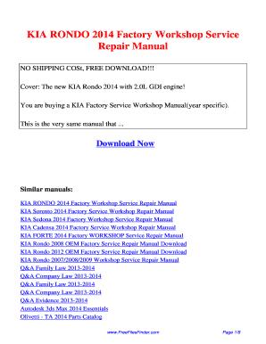 2008 kia rondo repair manual pdf fill online printable fillable rh pdffiller com 2010 Kia Rondo 2016 Kia Rondo