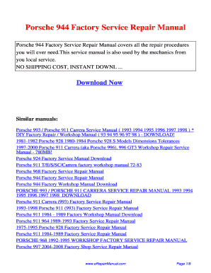 fillable online porsche 944 factory service repair manual fax email rh pdffiller com Nissan Factory Service Manual Auto Shop Manuals