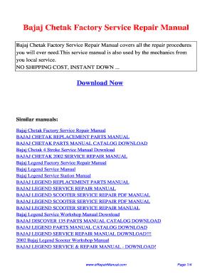 bajaj chetak 2 stroke repair manual fill online printable rh pdffiller com